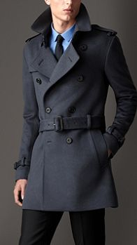 Mid-Length Virgin Wool Cashmere Trench Coat   Burberry
