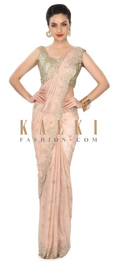 Buy this Pink shimmer saree adorn in pearl and motif embroidery only on Kalki