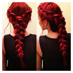 Red Braided Hair ❤ liked on Polyvore featuring accessories, hair accessories and hair