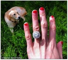"""British personality Peaches Geldof shows off her engagement ring. """"It's a hearts and arrows round that was my grandmas in a cushion pave diamond setting! Celebrity Rings, Celebrity Engagement Rings, Celebrity Jewelry, Wedding Jewelry, Wedding Rings, Wedding Stuff, Jewelry Box, Jewelery, Dream Wedding"""