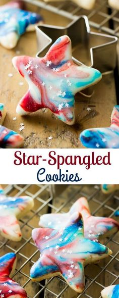 Festive red white and blue star-spangled cookies that are perfect as a memorial day or fourth of July patriotic celebration dessert. Fourth of July Barbecue Mini Desserts, 4th Of July Desserts, Fourth Of July Food, 4th Of July Party, Holiday Desserts, Holiday Baking, Holiday Treats, Holiday Recipes, Patriotic Desserts