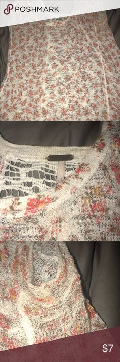Free People Knit Floral Shirt, size L Red and white floral pattern. Sheer shirt. Wear in the armpit area, pictured. Hole on the right hip area, pictured. Back side is white, crochet pattern. Size L. Free People Tops