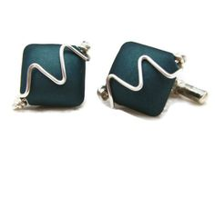 Cufflinks in Teal Blue Acrylic Bead & Silver Plated Wire £12.50