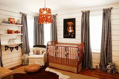Such a cute little boys nursery.  Love the gingham curtains and custom dog print
