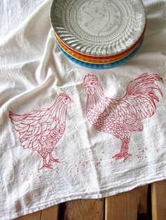 Screen Printed Organic Cotton Flour Sack Tea Towel - Chicken and Rooster Illustration- Eco Friendly Hand Towel for Every Day. $10.00, via Etsy.