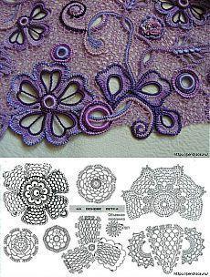 irish lace crochet pattern Letras e Artes da Lal: croch irlands Letras e Artes da Lal: croch irlands Irish Crochet Tutorial, Irish Crochet Patterns, Crochet Motifs, Freeform Crochet, Crochet Diagram, Crochet Art, Crochet Designs, Crochet Flowers, Crochet Leaves