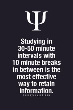 Studying in minutes intervals with 10 minute breaks in between is the most effective way to retain information. Psychology Fun Facts, Psychology Says, Psychology Quotes, Interesting Psychology Facts, Educational Psychology, Educational Leadership, Educational Technology, The Words, Physiological Facts