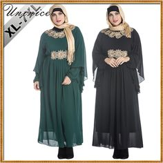 Muslim Women's Maxi Dress Appliques Lace Plus Size Abaya Turkish Dubai Islamic Clothing Robe Gowns Long Sleeve Arab Ramadan #Islamic clothing