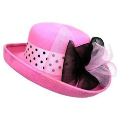 Gorgeous Pink Wool Felt Hat With Black Polka Dots