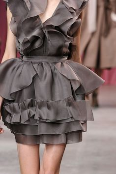 Rippling Ruffles - elegant layered ruffle dress; feminine fashion details