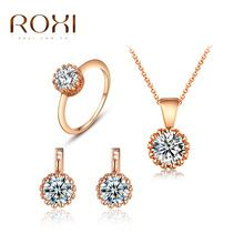 ROXI Exquisite Rose Gold Plated Cubic Zirconia CZ Accent Inspired Cute Stud Earrings and Pendant Necklace /Ring Jewelry Set(China (Mainland))