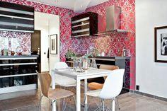 papier peint pour délimiter la cuisine