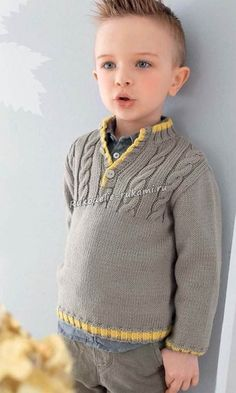 Gray-beige sweater with braids for a Серо-бежевый джемпер с косами для мальчика Gray-beige sweater with braids for a boy - Baby Boy Knitting Patterns, Baby Sweater Knitting Pattern, Knit Baby Sweaters, Boys Sweaters, Knitting For Kids, Sweater Set, Sweater Design, Beige Sweater, Crochet Jacket