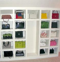 Purse storage closet-storage! This is what I want to do with my closet!!!!! Awesome!!!!!!!!!!!!!1