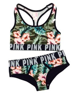 Victoria's Secret Women's PINK logo Bra Top and Hipster Panty Set Small Tropical Camo