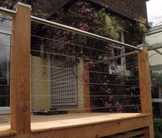 Bollin Rigging specialize in the supply of stainless steel infill and tension wires and yacht rigging for commercial balustrade, garden decking and the home Patio Balustrade Ideas, Wire Balustrade, Balustrade Balcon, Deck Railings, Cable Railing, Garden Wire Fencing, Timber Fencing, Garden Privacy, Patio Fence
