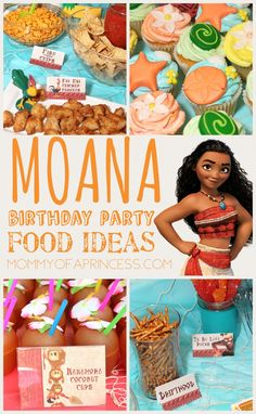 Need some Moana party ideas for girl birthday? Check out these Moana themed party foods. Also included are free Moana food labels, free Moana water labels, and free printable Moana tag labels. Moana Theme Birthday, Moana Themed Party, Luau Birthday, 6th Birthday Parties, Moana Birthday Party Ideas, Birthday Ideas, Paris Birthday, Third Birthday, Moana Birthday Decorations
