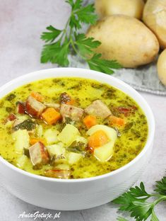 Zupa ziemniaczana | AniaGotuje.pl Soup Recipes, Keto Recipes, Dinner Recipes, Cooking Recipes, Healthy Recipes, Clean Eating, Healthy Dishes, Potato Soup, Love Food