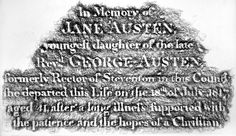"This grave rubbing of the inscription on Jane Austen's tomb was taken by co-curator Janine Barchas with special permission. The rubbing here reads: ""In Memory of JANE AUSTEN, youngest daughter of the late Revd GEORGE AUSTEN, formerly Rector of Stevenson in this county she departed this Life on the 18th of July 1817 aged 41, after a long illness supported with the patience and the hopes of a Christian."" EA."