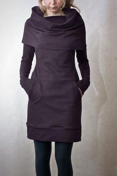 Eggplant Cowl Neck Pocket Tunic