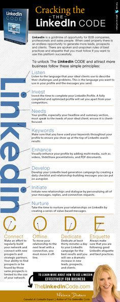 Cracking The LinkedIn Code Infographic via @meloniedodaro of Top Dog Social Media. Great tips!