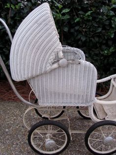 victorian baby strollers | Antique Vtg White Wicker Victorian Baby Buggy Stroller Pram | eBay