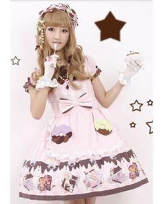 Chess Story Sweet Chocolate Party OP Dress $98.99-Cotton Girls Dresses - My Lolita Dress