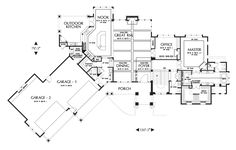 Main Floor Plan of Mascord Plan 1411 - The Tasseler - Large One Story Plan with Walk-out Basement