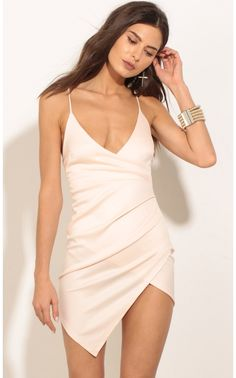 45$ Party dresses > Ruched Asymmetric Dress In Light Pink