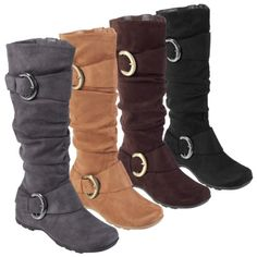 Journee Collection Buckle Accent Slouchy Mid-calf Boots - Boots from Bamboo by Journee boast ultrasuede upperWomen's shoes feature fashionable slouch design with side accent bucklesSide zipper entry for ease of wearTextured sole measures Wide Calf Boots, Flat Boots, Knee High Boots, Boots Cowboy, Slouchy Boots, Shoe Deals, Cute Boots, Grey Boots, Brown Boots