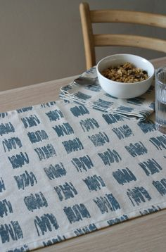 Block printed Check Table Runner by Selwyn House