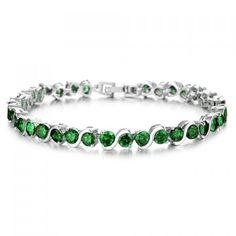 Elegant Green Gem Tennis Bracelet