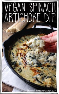 Yes this is vegan, and its amazing! Vegan Spinach Artichoke Dip tastes like the traditional dish but so much better. Soy, dairy, oil, and gluten free! #itdoesnttastelikechicken