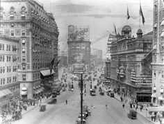 Kellogg's Toasted Corn Flakes, 43rd to 47th streets and Broadway, 1912  This shot gives a great idea of the Square—still a genteel pleasure-dome but beginning its cede to the masses—in the early years of the last century. Kellogg's occupied the top of the north Square stack with a display featuring an infant's head that could not be more typically of its time.