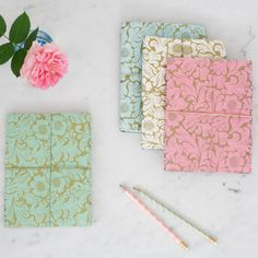 Our beautiful and practical notebooks are made from recycled materials. Finished with a textured look (a bit like leather) they are eco and animal friendly. All of our beautiful rich prints and patterns are hand-screen printed using eco-friendly dyes. Small Gifts, Unique Gifts, A5 Notebook, Paper Cover, Recycled Materials, Notebooks, Journals, Print Patterns, Screen Printing