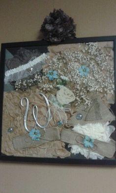 Shadow box with wedding items