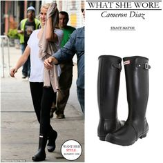 Cameron Diaz on the set of The Other Woman on June 3 in black Hunter boots #fashion #style #boots