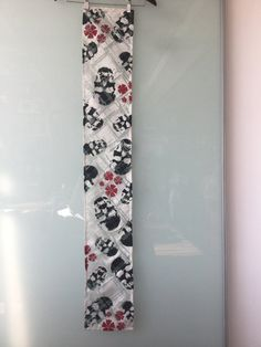 Hand Stencilled Linen/Silk Scarf with Skull/Flower Motif by UlricDesign on Etsy