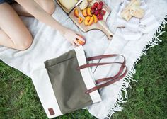 The season of farmer's markets and picnics in the park isn't complete until its accessorized with the Market Tote. Picnic In The Park, Leather Interior, Picnics, Leather Handle, Farmer, Shots, Marketing, Canvas, Tela