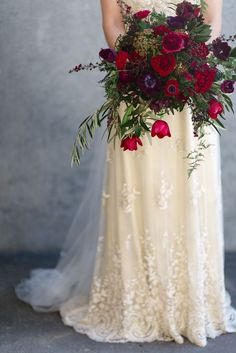 BEAUTIFUL - bridal bouquet idea of berry jewel tones and green foliage