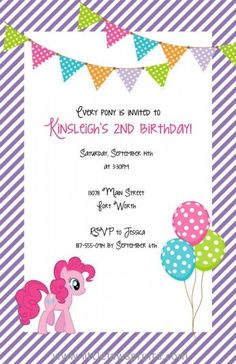 my little pony invitation. Also check out my site for more fun ideas. www.partiesandfun.etsy.com