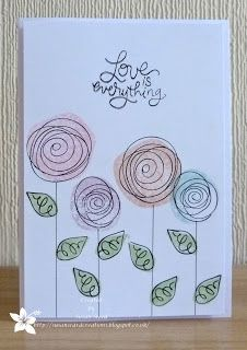 June 2014 Zouave Cards: Less is More - Use More than One Stamp. Cute Cards, Diy Cards, Card Drawing, Envelope Art, Flower Doodles, Watercolor Cards, Watercolour, Card Kit, Happy Paintings