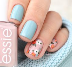 essie fall 2016 go go geisha udon know me pink and blue flower floral nail art