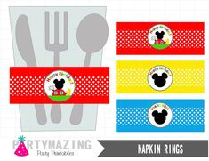 Mickey Mouse Napkin Rings  Mickey Mouse  Birthday by Partymazing