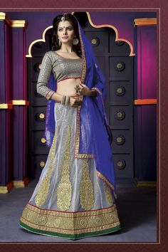 Women's Pretty A Line Lehenga Style in Pewter Color With Lace Work Dupatta