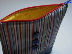Zippered Pouch Denim and Striped Hobby Bag Pencil by VillageQuilts