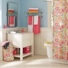 Blue Walls+Green + Pink = awesome bathroom