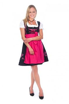 Special Offer: $49.95 amazon.com 3-piece dirndl in black with pink embroidery, matching pink skirt and white blouse Dirndl The beautiful embroidery makes this jaunty Dirndl a highlight! Especially the floral embroidery on the skirt is a real looker! It is in the middle closed with a zipper...