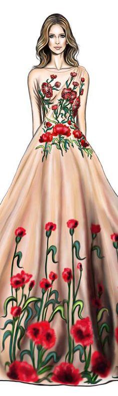 @Elles Ottens in Nedret Taciroglu fall winter 2016.#Digitaldrawing by David Mandeiro Illustrations#Digitalart #digital #Fashion#Wacom #EllesOttens #NedretTaciroglu