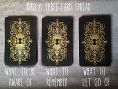 A three-card spread to set intentions for the day that I threw together this morning after having a rough night. I used it this morning and found it really helpful.